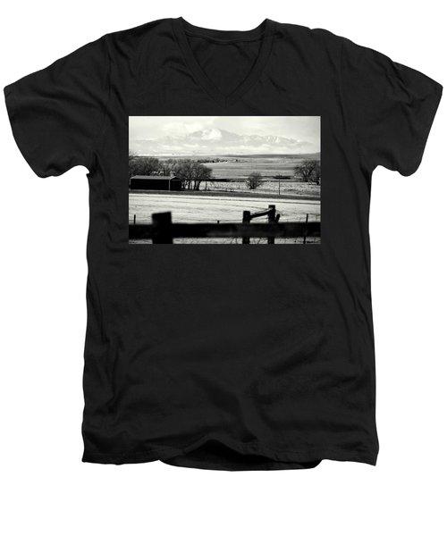 Pikes Peak From Ramah Men's V-Neck T-Shirt by Clarice  Lakota