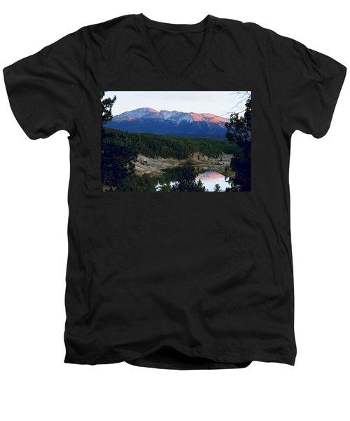 Pikes Peak Sunset Men's V-Neck T-Shirt by Marilyn Burton