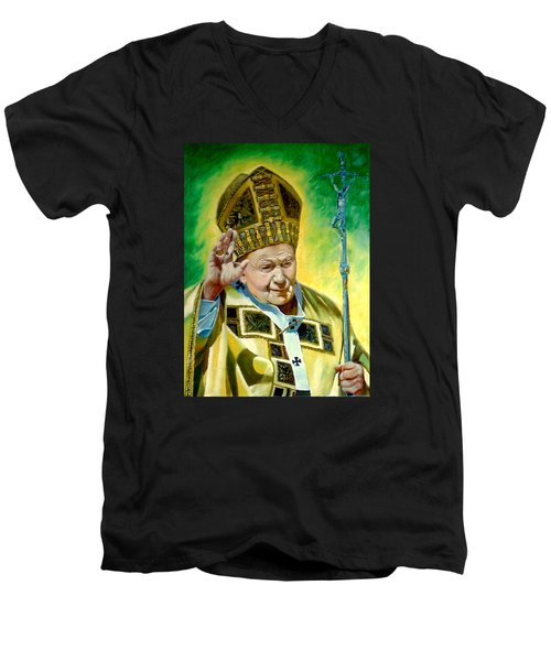 Men's V-Neck T-Shirt featuring the painting Pilgrim by Henryk Gorecki