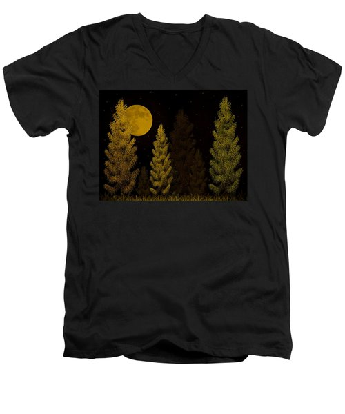Pine Forest Moon Men's V-Neck T-Shirt