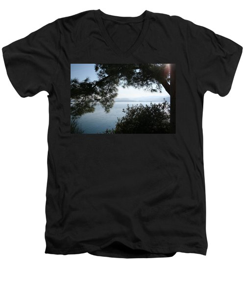 Men's V-Neck T-Shirt featuring the photograph Pine Trees Overhanging The Aegean Sea by Tracey Harrington-Simpson