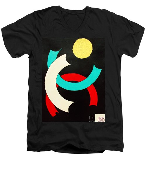 Pineapple Moon Men's V-Neck T-Shirt by Roberto Prusso