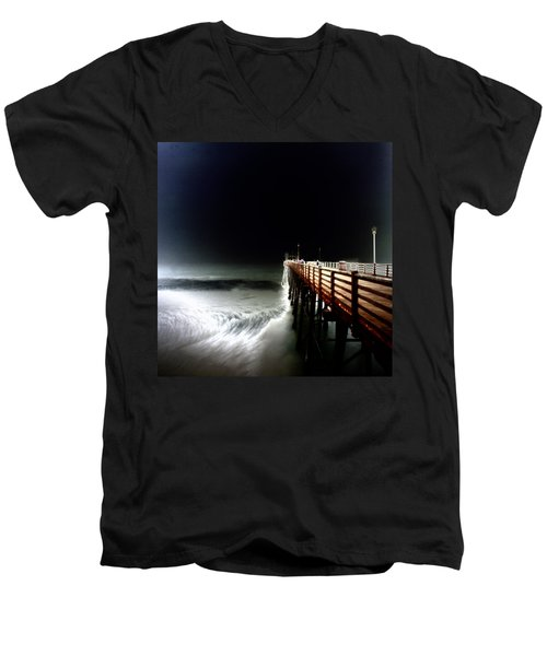 Pinhole Oceanside Pier Men's V-Neck T-Shirt by Hugh Smith