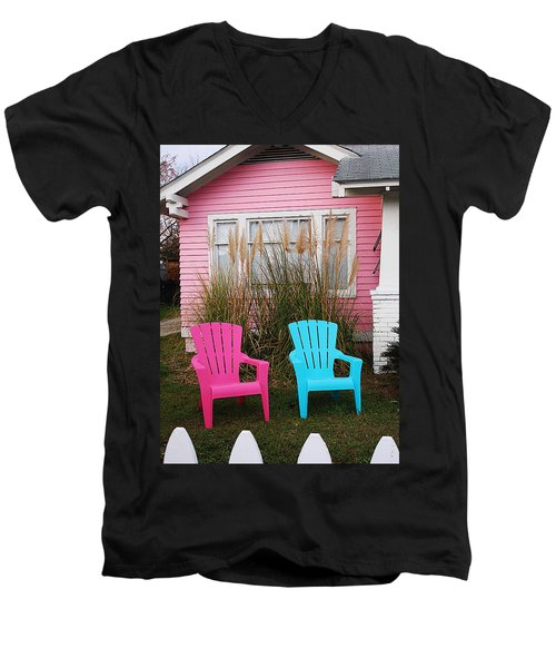 Pink And Blue Chairs By Jan Marvin Men's V-Neck T-Shirt