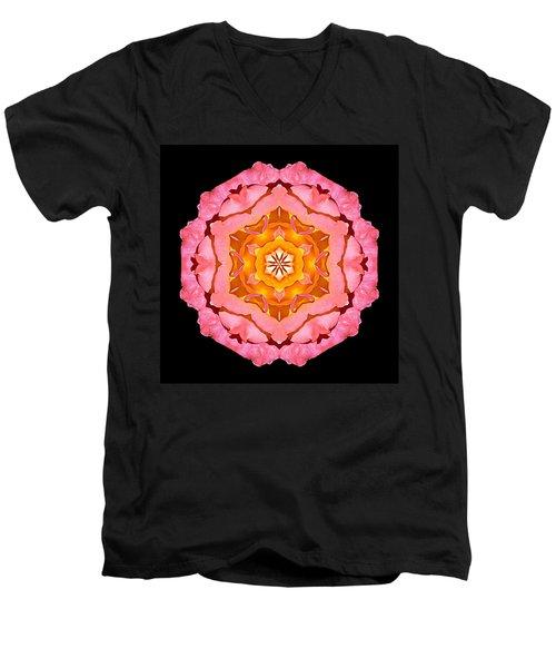 Men's V-Neck T-Shirt featuring the photograph Pink And Orange Rose I Flower Mandala by David J Bookbinder