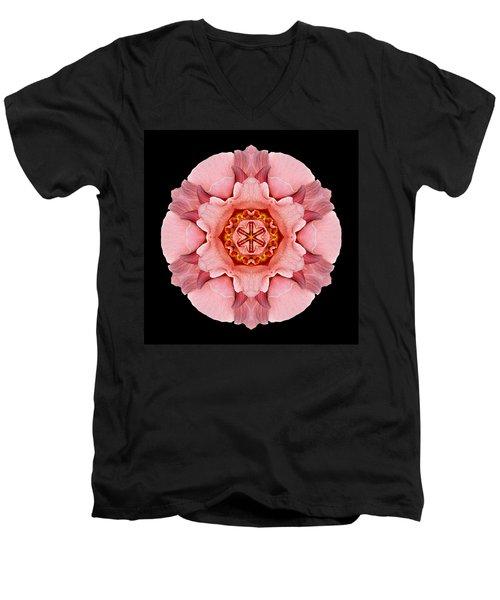Men's V-Neck T-Shirt featuring the photograph Pink And Orange Rose Iv Flower Mandala by David J Bookbinder
