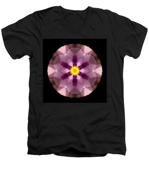 Pink And Purple Pansy Flower Mandala Men's V-Neck T-Shirt