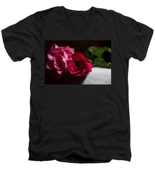 Men's V-Neck T-Shirt featuring the photograph Pink And Red Rose by Matt Malloy