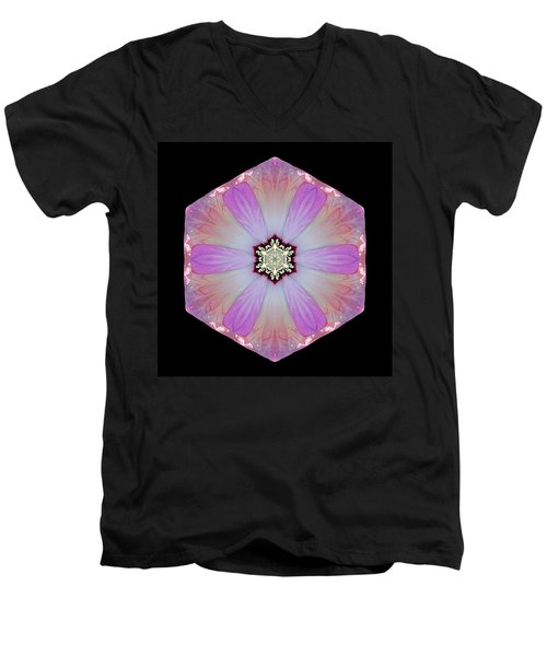 Pink And White Hibiscus Moscheutos I Flower Mandala Men's V-Neck T-Shirt