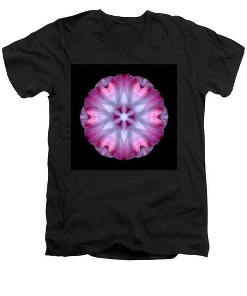 Pink And White Impatiens Flower Mandala Men's V-Neck T-Shirt