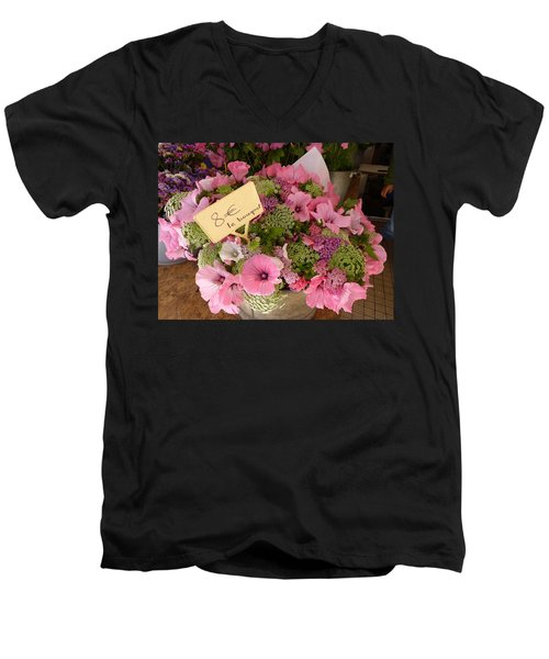Men's V-Neck T-Shirt featuring the photograph Pink Bouquet by Carla Parris