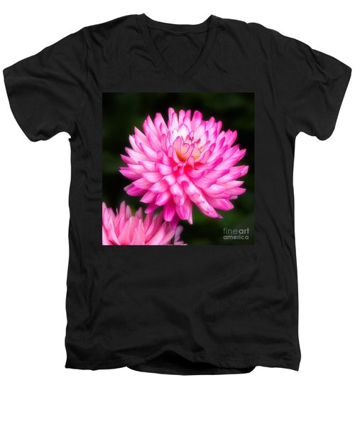 Pink Chrysanths Men's V-Neck T-Shirt