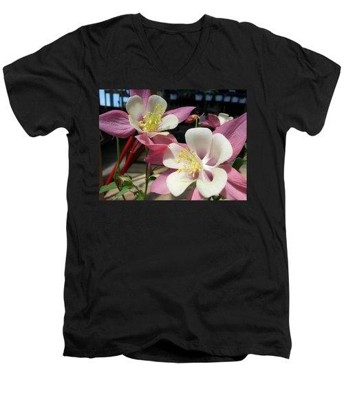 Men's V-Neck T-Shirt featuring the photograph Pink Columbine by Caryl J Bohn