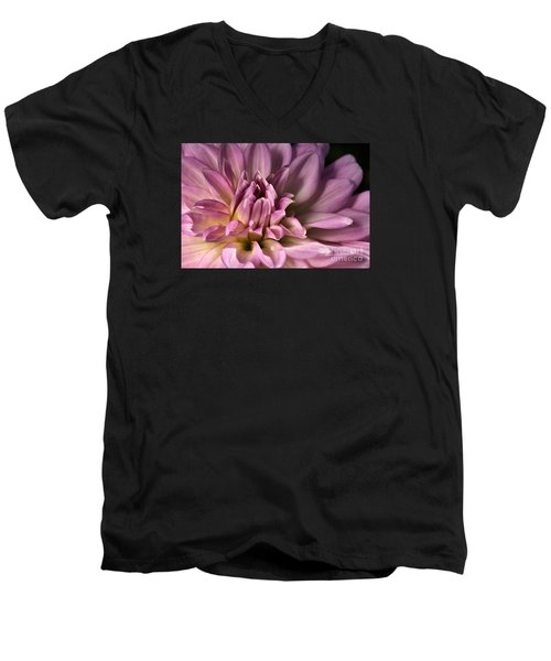Pink Dahlia's Dream Men's V-Neck T-Shirt by Joy Watson