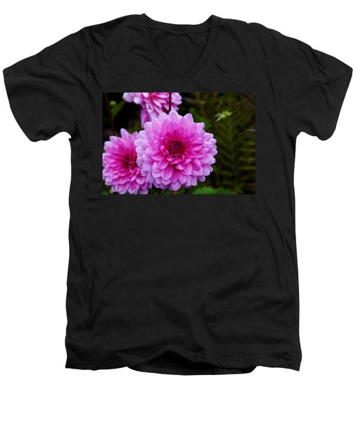 Pink Dahlias Men's V-Neck T-Shirt