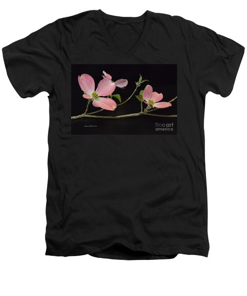 Men's V-Neck T-Shirt featuring the photograph Pink Dogwood Branch  by Jeannie Rhode