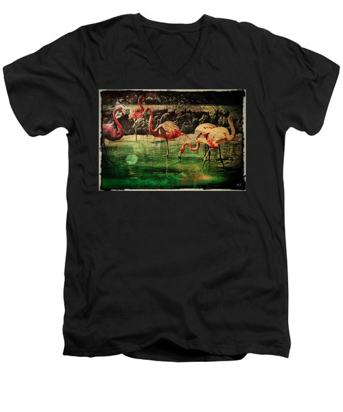 Men's V-Neck T-Shirt featuring the digital art Pink Flamingos - Shangri-la by Absinthe Art By Michelle LeAnn Scott