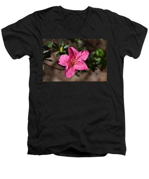 Men's V-Neck T-Shirt featuring the photograph Pink Flower by Tara Potts