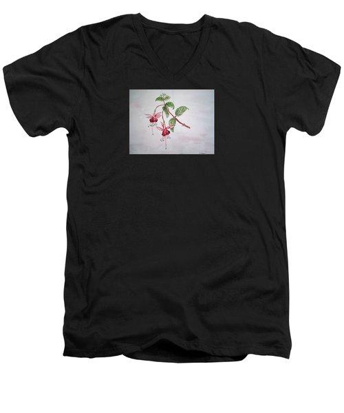 Pink Fuchsia's  Men's V-Neck T-Shirt by Elvira Ingram