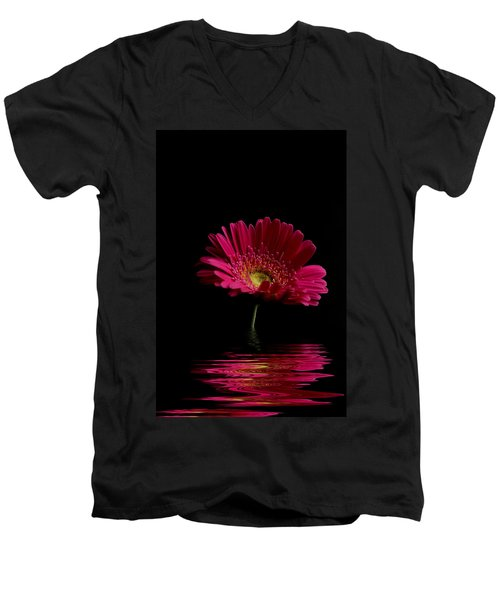 Pink Gerbera Flood 1 Men's V-Neck T-Shirt