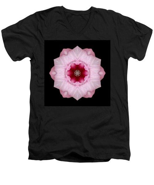 Pink Hibiscus I Flower Mandala Men's V-Neck T-Shirt