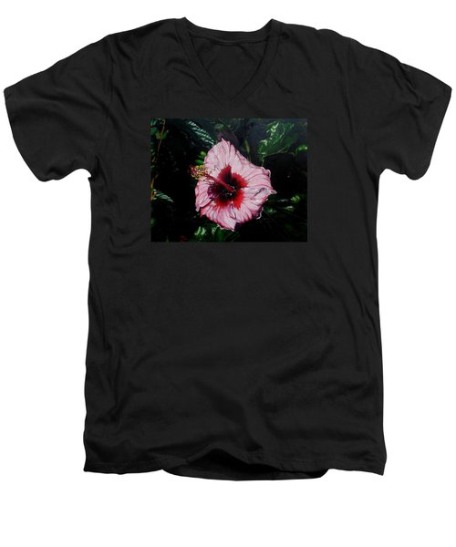 Pink Hibiscus Men's V-Neck T-Shirt by Raymond Perez