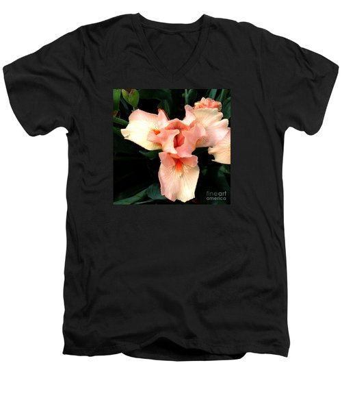 Pink Iris Men's V-Neck T-Shirt by The Art of Alice Terrill