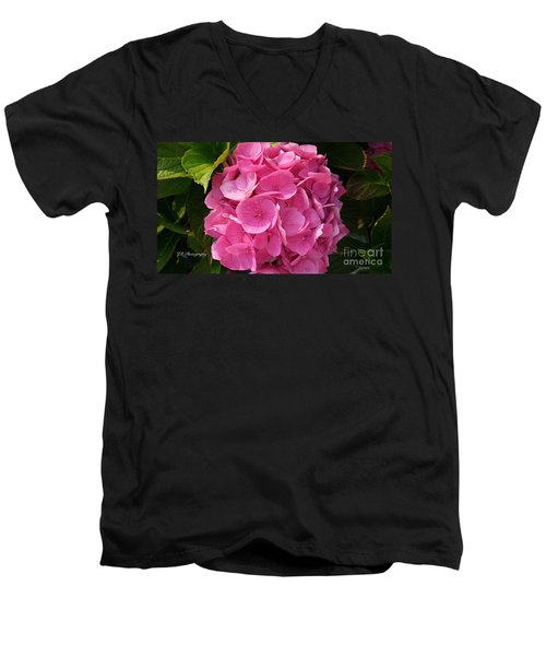 Men's V-Neck T-Shirt featuring the photograph Blushing Rose by Jeannie Rhode