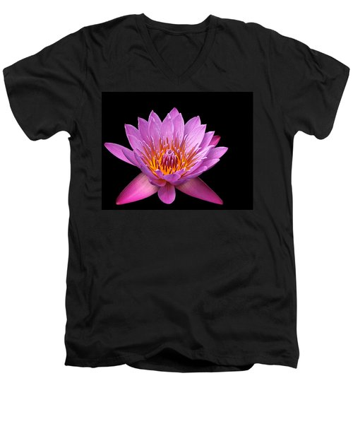 Men's V-Neck T-Shirt featuring the photograph Pink Lady On Black by Judy Vincent