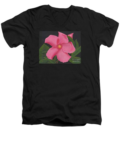 Pink Mandevilla Men's V-Neck T-Shirt by Billinda Brandli DeVillez