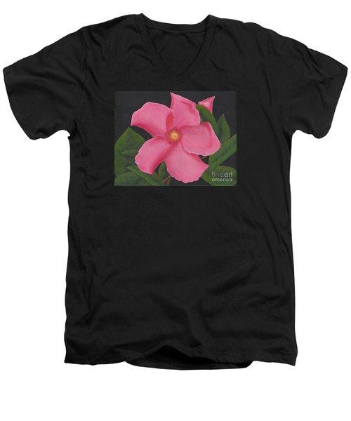 Pink Mandevilla Men's V-Neck T-Shirt