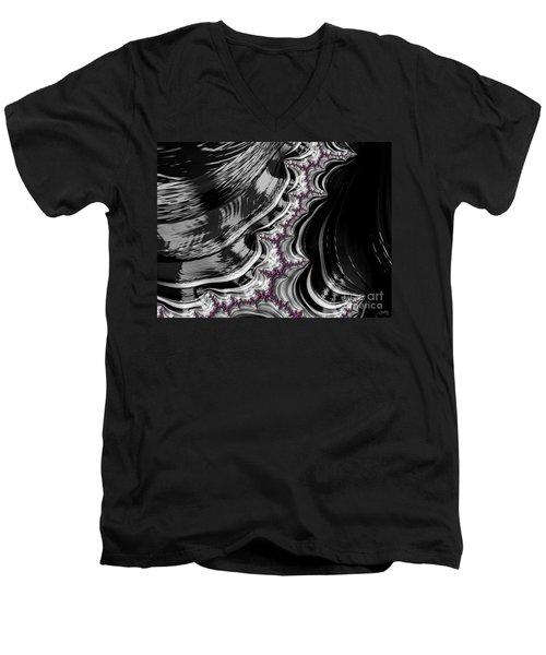 Pink On Black And White Fractal Abstract Men's V-Neck T-Shirt