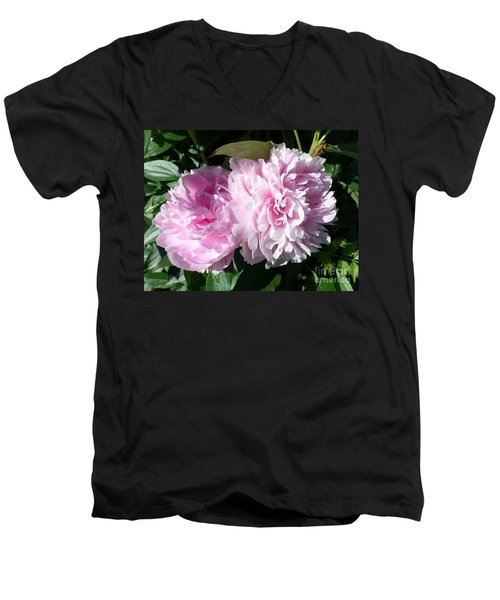 Pink Peonies 3 Men's V-Neck T-Shirt by HEVi FineArt