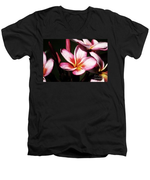 Men's V-Neck T-Shirt featuring the photograph Pink Plumeria by Angela DeFrias