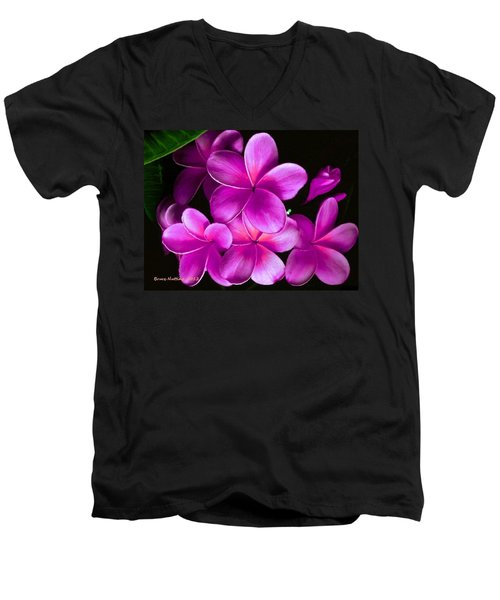 Pink Plumeria Men's V-Neck T-Shirt by Bruce Nutting