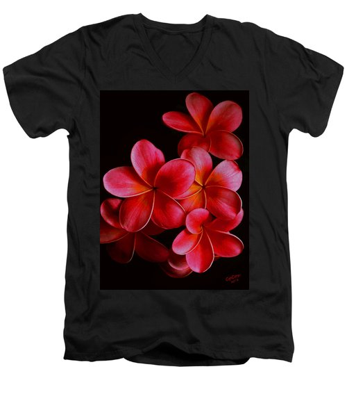 Pink Plumerias Men's V-Neck T-Shirt