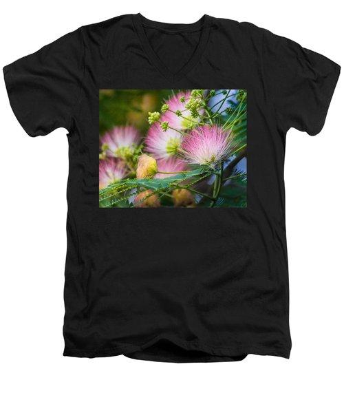 Pink Pom Poms Men's V-Neck T-Shirt