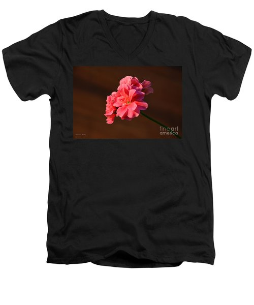 Men's V-Neck T-Shirt featuring the photograph Pink by Ramona Matei