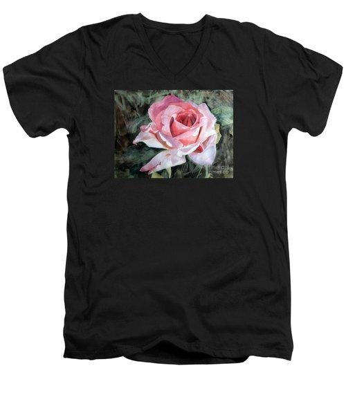 Pink Rose Greg Men's V-Neck T-Shirt by Greta Corens