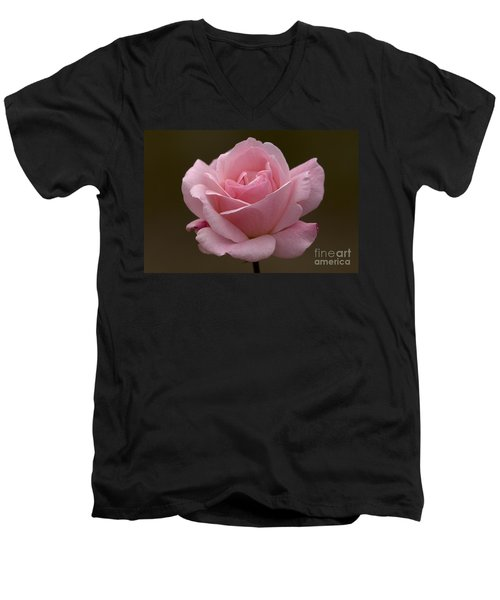 Men's V-Neck T-Shirt featuring the photograph Pink Rose by Meg Rousher