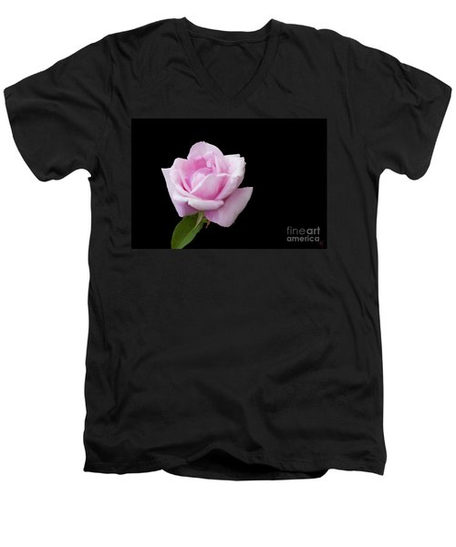 Men's V-Neck T-Shirt featuring the digital art Pink Rose On Black by Victoria Harrington
