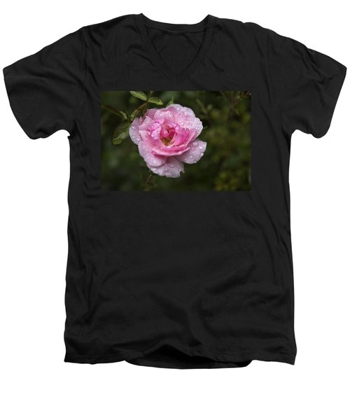 Pink Rose With Raindrops Men's V-Neck T-Shirt