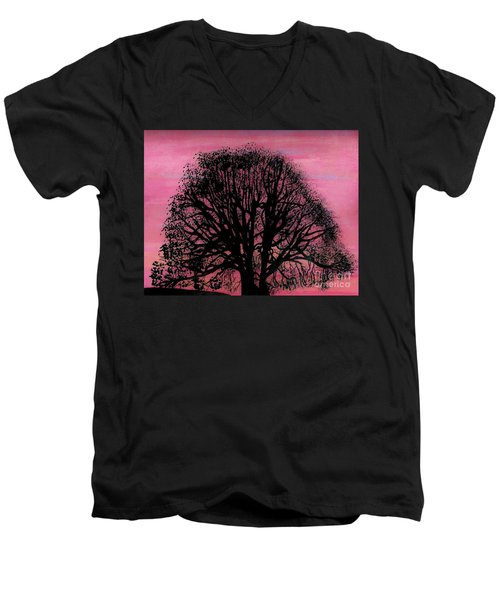 Men's V-Neck T-Shirt featuring the drawing Pink Sunset Tree by D Hackett