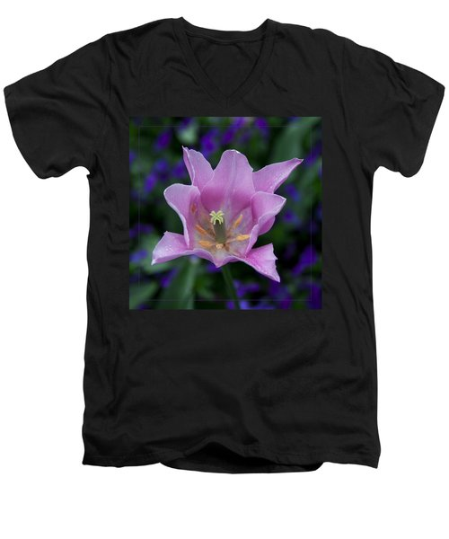 Pink Tulip Flower With A Spot Of Green Fine Art Floral Photography Print Men's V-Neck T-Shirt