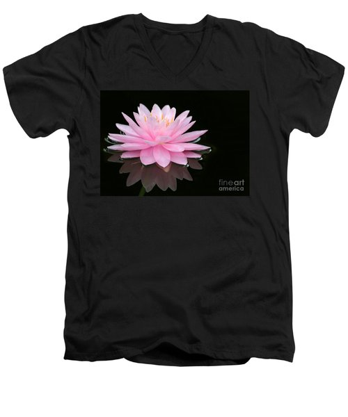 Pink Water Lily In A Dark Pond Men's V-Neck T-Shirt