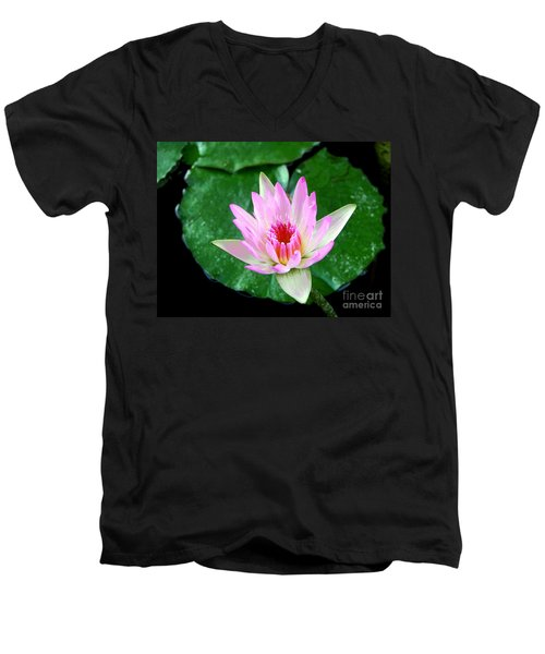 Men's V-Neck T-Shirt featuring the photograph Pink Waterlily Flower by David Lawson