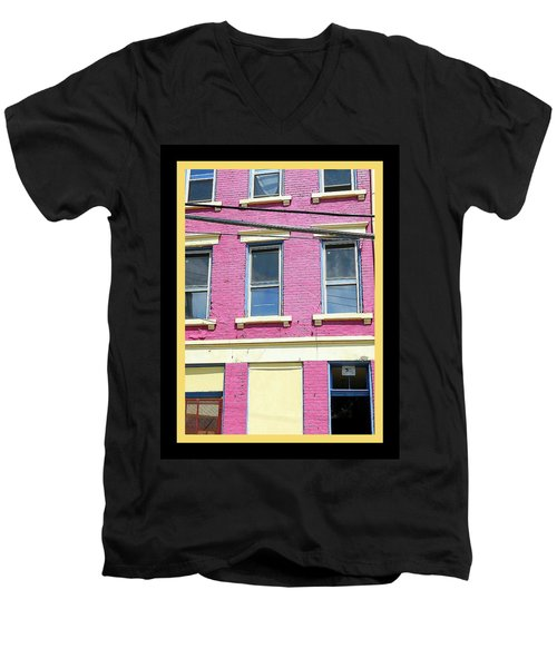 Pink Yellow Blue Building Men's V-Neck T-Shirt by Kathy Barney