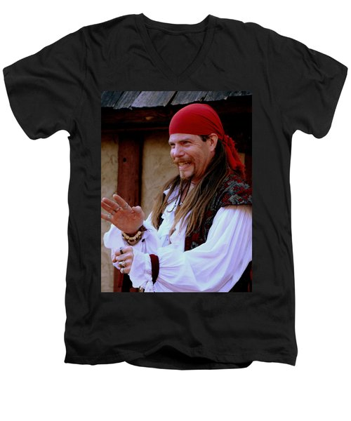 Pirate Shantyman Men's V-Neck T-Shirt by Rodney Lee Williams