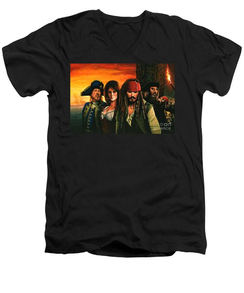 Pirates Of The Caribbean  Men's V-Neck T-Shirt by Paul Meijering