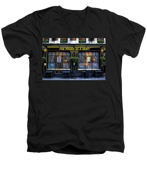 Pissed As A Newt Pub  Men's V-Neck T-Shirt by David Pyatt